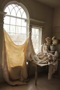 Antique French Linen Sheets 3 Matching Heavy Upholstery And Sewing Fabric Washed