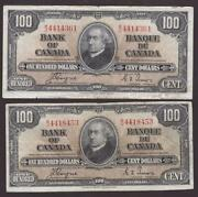 1937 Bank Of Canada 100 Error Oversize Note And Regular Size Note 2x Notes