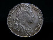Great Britain. 1697 William 111 - Sixpence.. 3rd Bust - Later Harp.. Au-unc