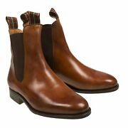 Silvano Lattanzi Brown Museum Calf Leather Chelsea Boots Hand-made In Italy