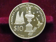New Zealand. 2002 Gold - 10 Dollars. .4963oz. Americaand039s Cup.. Proof - Cased