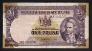 New Zealand P-159d. 1 Pound 1956-67-fleming. Million Serial Number 242 1000000