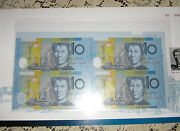 Uncut Block Of 4 Red Serial Number Ten Dollar Notes In Folder Of Issue Scarce