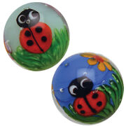 2 Ladybirds Bugs Insect Lady Bug Flower 16mm Handmade Art Glass Clear Marbles