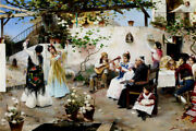 A Dance For The Priest 1890 Spanish Spain Painting By Juan Garcia Ramos Repro