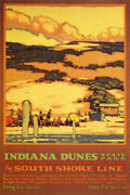 Indiana Dunes State Park South Shore Line Beach Usa Travel Vintage Poster Repro