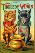 Combination Brown Black Cat Tiddledy Winks Coins Savings Vintage Poster Repro