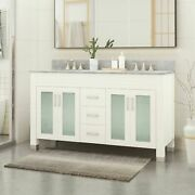 Holdame Contemporary 60 Wood Double Sink Bathroom Vanity With Marble Counter To
