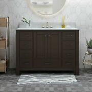 Laranne Contemporary 48 Wood Single Sink Bathroom Vanity With Marble Counter To