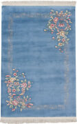 Rra 5x7 4and0396x6and03911 Chinese Art Deco Floral Spray Sky Blue Rug 20079