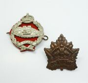 Vintage Early 20c Lot 2 Canada Military Badge Hat And Pin Insignia Incl Tank