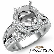 Halo Pave Diamond Engagement Antique Ring Round Shape Semimount 1.3ct 14k W Gold