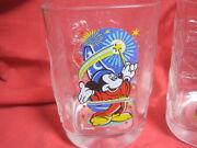 Set Of 4 Disney 2000 Mcdonalds Collector Square Glasses Mugs Mickey Mouse