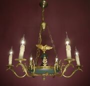 Eagle 6 Light Brass French Empire Chandelier Green Vintage Ceiling Used Andoslash 26