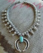 Navajo E Hale Antiqued Sterling Silver Royston Turquoise Squash Blossom Necklace