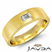 Baguette Diamond Mens Solitaire Wedding Band 18k Yellow Gold 6.5mm Ring 0.15ct
