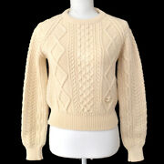 Vintage Cc Fisherman Long Sleeve Sweater Knit Ivory Authentic Gs01630j