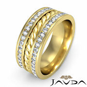 9.5mm Mens Wedding Band Pave Diamond Rope Eternity Ring 14k Yellow Gold 1.75ct