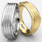 Four Sided Satin Center White Gold Ring 7mm Comfort Fit Man Menand039s Wedding Band