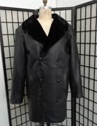 Brand New Black Leather And Sheared Beaver Fur Lined Coat Jacket Men Man Size All