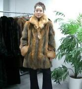 Brand New American Gray Grey And Red Fox Fur Coat Jacket Women Woman Size All