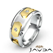 0.40 Ct. 2 Two Tone Gold Round Diamond Ring 8.5mm Menand039s Eternity Wedding Band