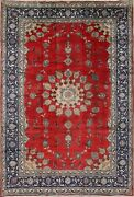 Vintage Medallion Oriental Floral Hand-knotted Area Rug Red 8x12