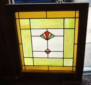 Antique Art Deco 1930's Stained Leaded Privacy Glass Window