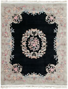 Rra 8x10 Chinese Aubusson Design Black And Sage Green Rug 19035