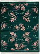 Rra 8x10 Chinese Contemporary Fern And Floral Dark Green Rug 23060