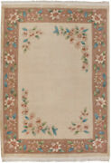 Rra 10x14 Chinese Art Deco Floral Design Ivory/ Light Brown Rug 18387