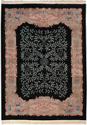 Rra 9x12 Chinese Arts And Crafts Design Two-tone Field Black Rug 19370