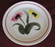 Blue Ridge Southern Potteries Poppy Duet Hand Painted 9.25 Plate On Candlewick
