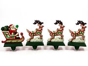 Midwest Of Cannon Falls Santa's Sleigh And Reindeer Stocking Hanger Set Cast Iron