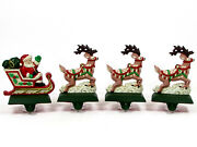 Midwest Of Cannon Falls Santaand039s Sleigh And Reindeer Stocking Hanger Set Cast Iron