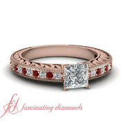 Rose Gold Affordable Princess Cut And Ruby Diamond Antique Engagement Rings 3/4 Ct