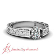 1/2 Carat Oval Shaped Diamond Vintage Engraved Solitaire Engagement Ring D-color