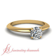 1/2 Carat Round Cut Solitaire Knife Edge Diamond Rings For Women Yellow Gold Gia