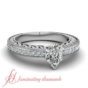 .65 Ct Pear Shaped E-color Diamond Engagement Rings For Women White Gold 14k Gia