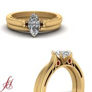 1/2 Carat Marquise Cut Diamond And Ruby Engagement Ring With Plain Wedding Band