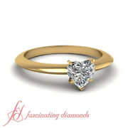 Knife Edge Solitaire Engagement Ring 0.65 Ct Yellow Gold Heart Shaped Diamond