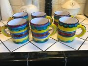 6 Unique Bullockand039s Hand Painted Large Ceramic Mugs Made In Italy Htf Rare Coffee