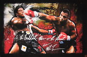 Iron Mike Tyson Autographed Signed 24x37 Canvas Print Punching Berbick Asi Proof