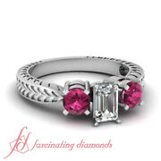 1 Ct Emerald Cut Diamond And Pink Sapphire Vintage Wedding Rings For Women Vvs2