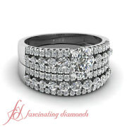 1.50 Ct Wedding Sets For Her With Cushion Cut And Round Diamond Three Row Gia
