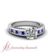 Platinum Round Cut Diamond Rings For Women With Pave Set Blue Sapphire 0.80 Ct