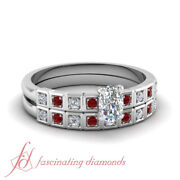 .65 Ct Cushion Cut Diamond And Round Red Ruby Engagement Rings And Bands For Women