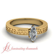 1/2 Carat Marquise Cut Vintage Looking Solitaire Diamond Ring In 18k Yellow Gold