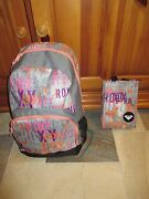 Nwt Roxy Girls Pink And Coral Shimmer School Backpack Book Bag And Bonus Lunch Bag