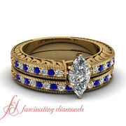 1 Carat Vintage Style Wedding Rings Set With Marquise Diamond And Blue Sapphire